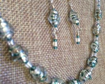 White and Aqua Shimmering Glass Necklace and Earrings Set