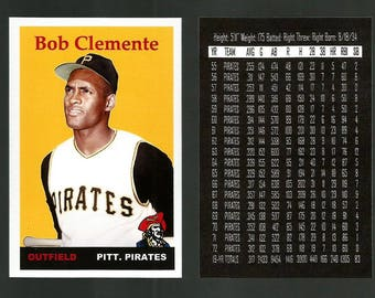 Roberto Clemente Pittsburgh Pirates 1958 Style Custom Made Baseball Card. Mint Condition. 3 3/4 x 2 1/2.