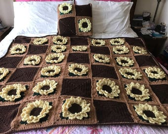 "3D sunflower crochet throw with cushion. Throw Measures approx 4'6"" x 3'6"""