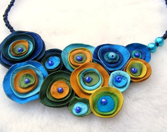 Blue Green Yellow Leather Necklace