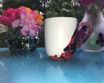 Red and Black Marble Coffee Mug