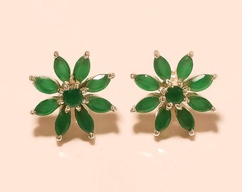 Natural Zambian Emerald Gemstone Earrings Studs 925 Sterling Silver Earring Studs Women Wedding Cocktail Fine Jewelry NewYear Santa Gift