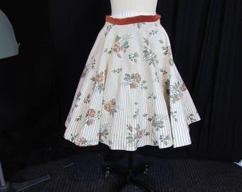 Felt Circle Skirt Med 1950s Vintage Original By Olga Floral