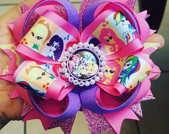My little Pony stacked hair bow...pony hair bow...my little pony pink hair bow