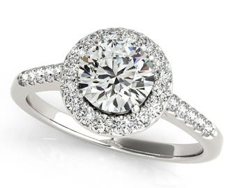 3/4 Ct Halo Diamond Engagement Ring 14K Solid White Gold