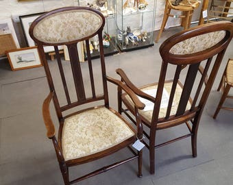 Pair of James Shoolbred & Co Art Nouveau Parlour Chairs