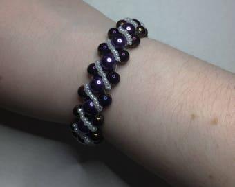 Elegant Purple and White Embellished Beaded Bracelet