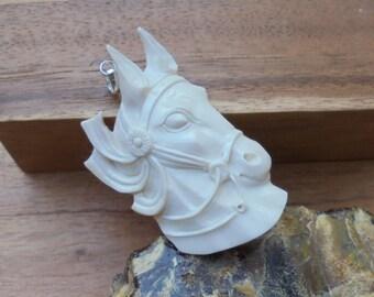 Horse Pendant, Horse Carving, Bali Bone Jewelry P84
