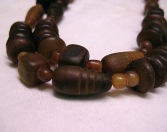 Earthy Rich Long  Beaded  Necklace