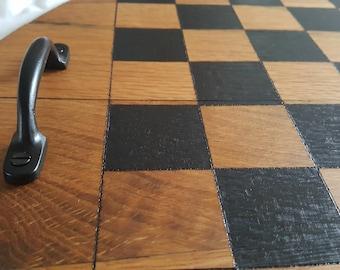 Solid oak chess board **reclaimed whisky barrel lid**