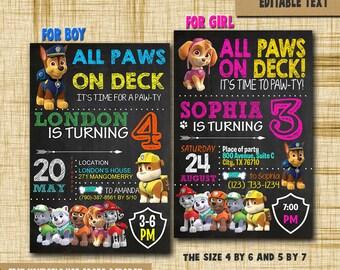 Paw patrol Invitation paw patrol Birthday paw patrol Birthday Invitation paw patrol PDF editable text paw patrol birthday invitation girl