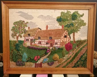 Exquisite Vintage 1950's hand embroidered Anne Hathaways English country cottage garden linen picture Shakespeares house