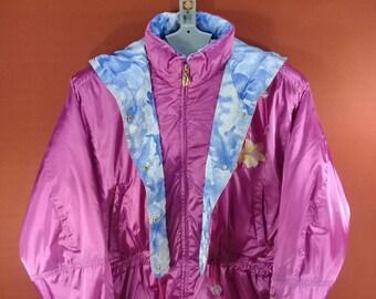 Vintage Reseeda Hoodie Jacket Puffer Flower Embroide Sweater Purple Colour Size LL Winter Down Jackets Phenix Jacket Ellesse Ski Jackets