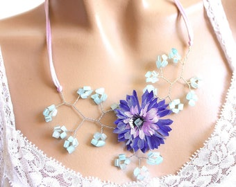 Blueberry branch Blue Flower necklace Pearl and aquamarine colored glass chips.