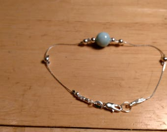 Sterling silver and Larimar bracelet.