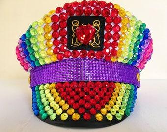 Captain Hat, Burning Man Hat, EDC, Festival Hat, Pride Hat, Rave Hats, Rainbow, Festival Fashion, Festival Wear, Womens Hats, Mens Hats
