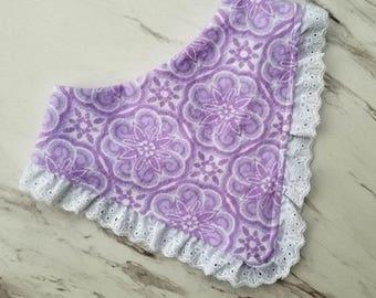 Purple Floral Lace Trimmed Bandana Bib