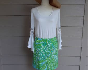 Lilly Pulitzer Green and Blue Floral Skirt