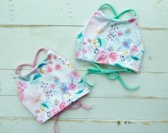 Children's Reversible High Neck Bikini Top- MADE TO ORDER- Floral // Pink // Blue // Kids // Summer //