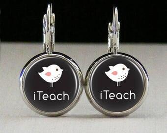 Teacher Glass bezel earrings teacher earrings teacher jewelry teacher gift custom photo earrings photo jewelry glass jewelry