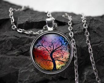 Glass tree of life Pendant glass pendant necklace tree of life glass pendant tree necklace tree jewelry photo pendant bezel photo jewelry