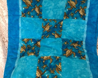 Hand Made Turtle (Honu) Baby Quilt