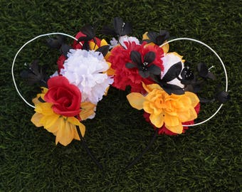 Mickey / Minnie Themed Floral Mouse Ears
