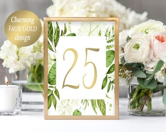 Wedding Table Numbers Printable Table Cards Greenery Table Numbers for Wedding Head Table Signage 5x7 Table Numbers 1-40 Instant Download