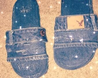 Custom distressed Jean Slides