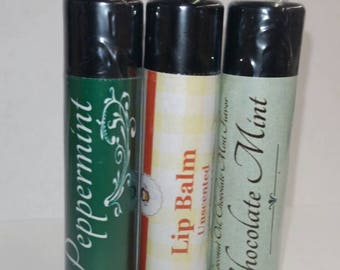Handmade Natural Lip Balm - Chocolate Mint, Peppermint, Unflavored