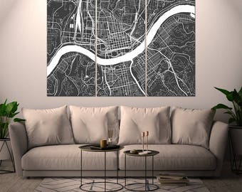 Cincinnati Ohio / City Map / Canvas Print / Wall Art / Multipanel