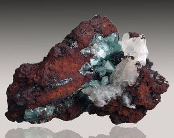 Cuprian Adamite with Calcite; Ojuela Mine, Mapimi, Durango, Mexico  --- minerals and crystals