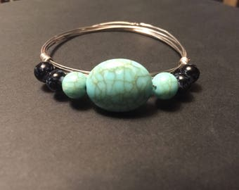 Silver Wire Bangle with Turquoise Stones and Dark Marble Beads