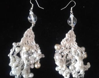 crocheted beads earrings ivory white and silver