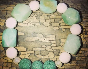 light green/turqouise with white glass accent beads diffuser bracelet
