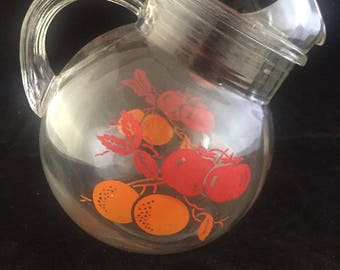 Vintage Glass Juice Ball Tilt Pitcher Midcentury Painted Citrus