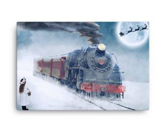 Christmas Train Canvas Wall Art Home Decor