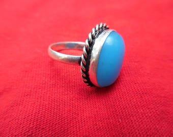 Handmade Aqua Chalcedony .925 Silver Ring/Size 8