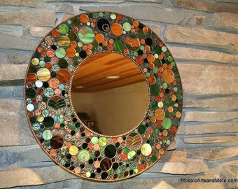 Full Circle stained glass mosaic mirror