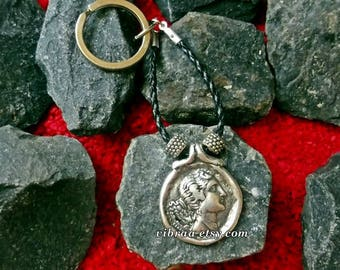 Demeter Goddess of Fertility Roman Ceres Ancient Coin Keychain