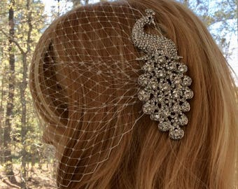 Crystal Veil, Bridal Veil, Wedding Veil, Rhinestone Veil, Bandeau Veil, Birdcage Veil