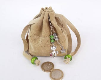 Wallet - genuine beige leather purse - adorned with green beads and cat charms