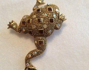 vintage toad frog brooch. Rhinestone set.