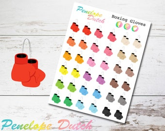 Boxing Gloves Gym Workout Fitness Planner Stickers