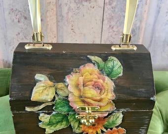 Vintage Floral Wooden Purse handbag, box wood bag