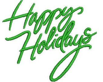 NeedleUp - Happy Holidays text embroidery design