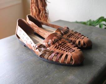 Vintage Leather Huarache Sandals