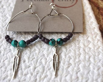 Purple and Teal Feather Wire Hoop Earrings
