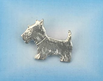 Fine Silver Scotty Dog Pendant made from Precious Metal Clay