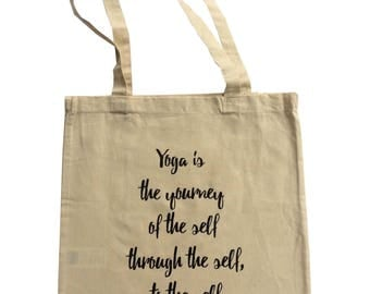 Yoga tote bag with quote and long handles, cotton bag, tote bag, yoga bag, yoga mat bag, printed bag, printed tote, tote